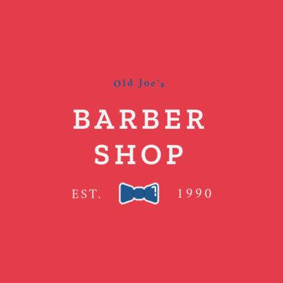 Barber Shop Logo Template with a Bow Tie Clipart 1471f 157-el