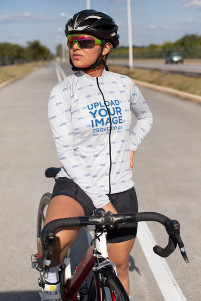 Long Sleeve Cycling Jersey Featuring a Woman on Her Bike 30777