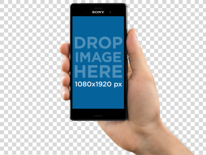 Sony Xperia Z5 Mockup in Vertical Position Over a PNG Background a10914