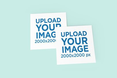 Mockup of Two Squared Greeting Cards Overlapping Each Other 1121-el