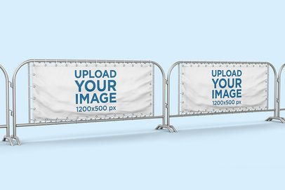 Mockup of a Street Barrier with Two Horizontal Banners 895-el