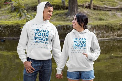 Pullover Hoodie Mockup of a Smiling Couple Holding Hands 30536