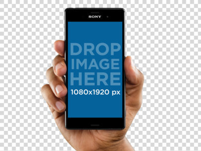 Sony Xperia Z5 Mockup Held Vertically Over a Transparent Background a10998