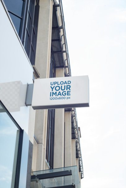 Rectangular Store Sign Mockup Placed on a Building 1331-el