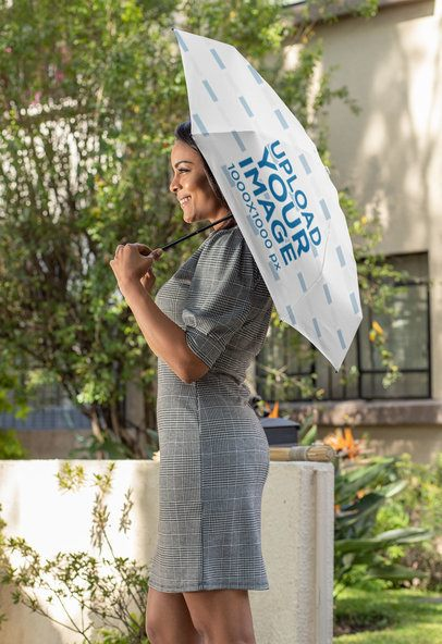 Mockup of a Smiling Woman with an Umbrella on Her Shoulder 30739