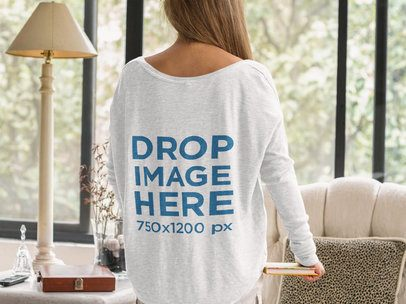 Mockup of the Back of an Elder Woman Wearing a Long Sleeve Round Neck Tshirt b11370