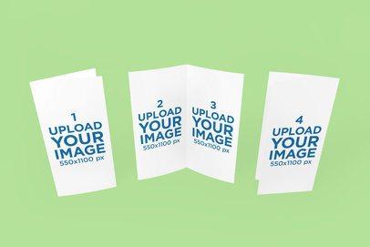 Mockup of Three Standing Bifold Brochures 1130-el