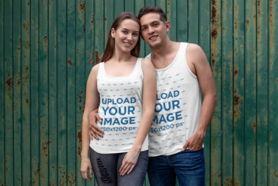 Mockup of a Couple Wearing Tank Tops While Hugging 30751