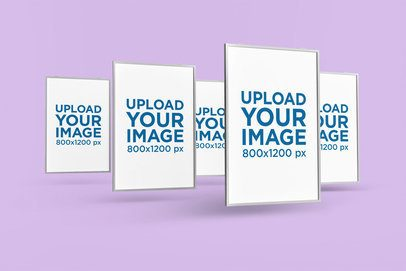 Mockup of Five Posters Floating in a Minimalistic Scenario 1263-el