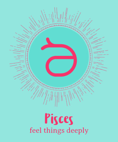 Zodiac Sign T-Shirt Design Creator with a Pisces Illustration 1426f-230-el