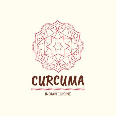 Indian Restaurant Logo Template with a Mandala Illustration 1832f-233-el