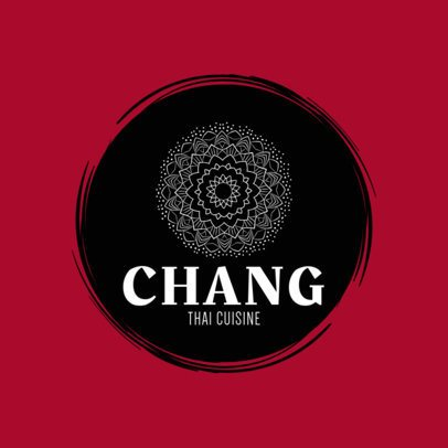 Thai Cuisine Logo Design Maker with a Mandala Graphic 1839f-233-el