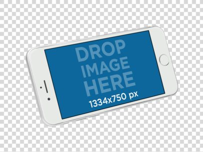 Floating White iPhone Mockup Over a Transparent Background a11362