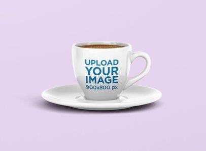 Espresso Coffee Mug Mockup Placed on a Plate 1457-el