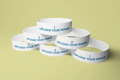 Mockup of a Pile of Paper Wristbands in a Simple Setting 720-el