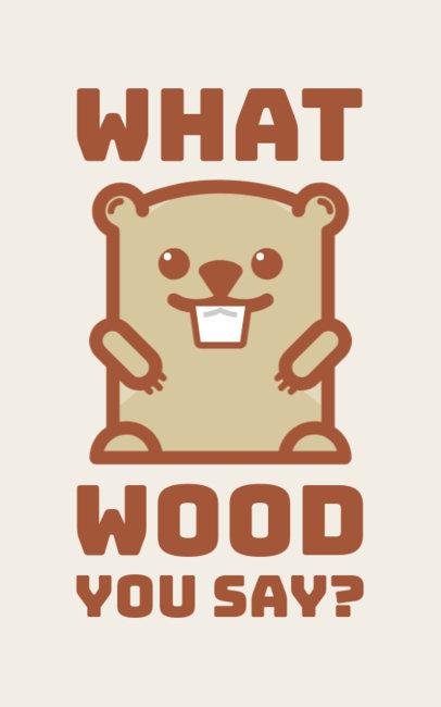 T-Shirt Design Template Featuring a Cute Beaver Graphic 351l-227-el
