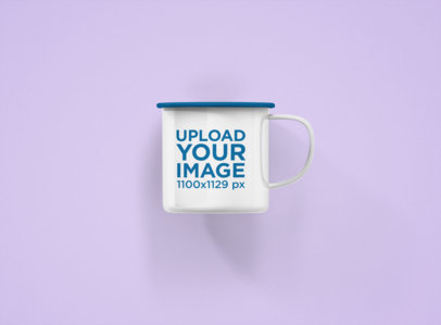 Mockup of a 12 oz Enamel Coffee Mug with a Customizable Rim Against a Flat Background 1199-el