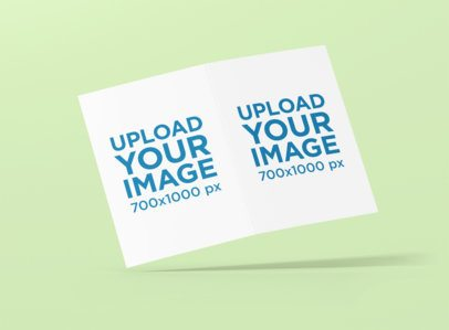 A5 Bifold Brochure Mockup Featuring a Customizable Background 1373-el