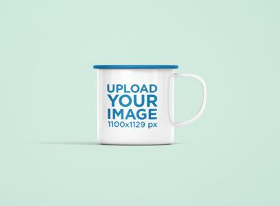 Mockup of a 12 oz Color Rim Enamel Mug  Against a Plain Background 1203-el