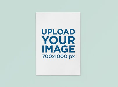 Mockup of a Poster Lying against a Plain Color Backdrop 1242-el