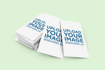Mockup of a Pile of Vertical Business Cards on a Plain Background 1603-el