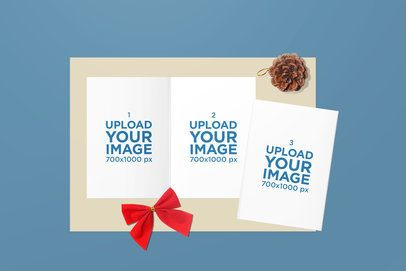 Greeting Cards Mockup Featuring a Christmas Setup 1607-el