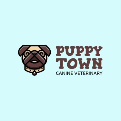 Veterinary Logo Design Template with a Pug Illustration 2582j-332-el