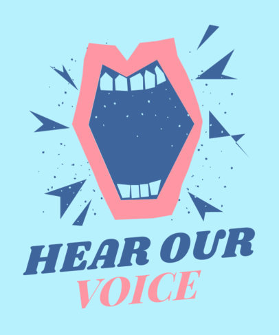T-Shirt Design Template Featuring a Protesting Mouth Graphic 2040g