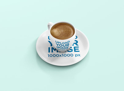 Mockup of an Espresso Cup Full of Coffee 1455-el