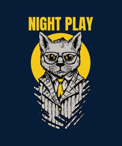 Mafia Animals T-Shirt Design Generator Featuring a Cat with Glasses 33b-el