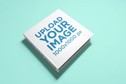 Mockup of an Angled Squared Book with Hard Cover 1563-el