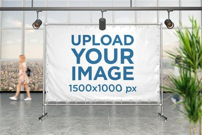 Horizontal Banner Mockup Placed Against a Window with a City View 983-el