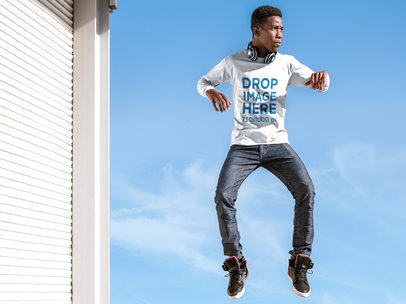 Long Sleeve T-Shirt Mockup of a Young Man Jumping Mid-Air a8815
