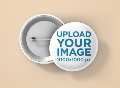 Back and Front View Mockup of Two Buttons Placed over a Colored Surface 1166-el