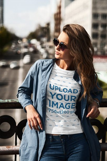 Mockup of a Woman with Long Hair Wearing a Crewneck T-Shirt Outside 1195-el