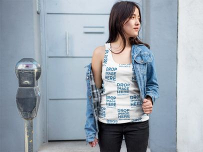 Asian Woman Wearing a Tank Top with a Denim Jacket Mockup a9539