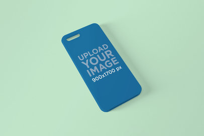 Mockup of an Angled Phone Case Leaning on a Solid Surface 1398-el