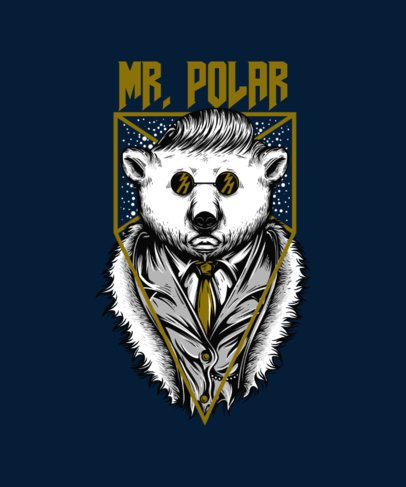 T-Shirt Design Maker Featuring a Funny Polar Bear with a Suit 33p-el