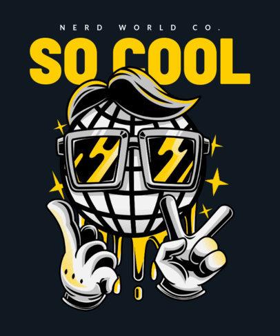 T-Shirt Design Template Featuring a Cartoon Disco Ball 22h-el
