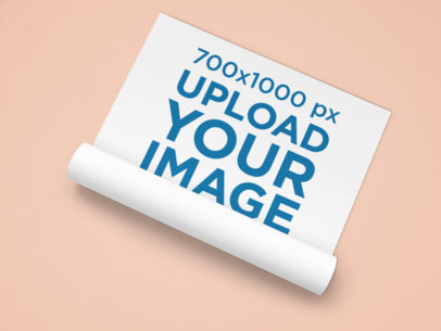Mockup of a Poster Halfway Unrolled on a Plain Surface