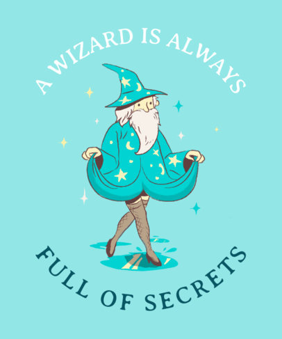 T-Shirt Design Creator with a Funny Wizard in Tights Illustration 2017h
