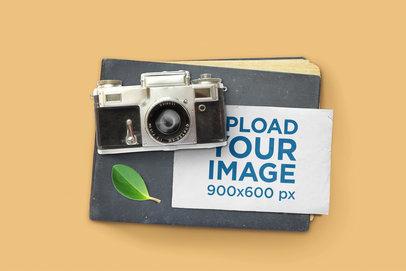 Postcard Mockup Featuring a Vintage Camera 1436-el