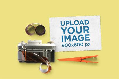 Vintage Postcard Mockup Featuring an Old Camera 1437-el
