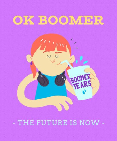 Baby Boomer T-Shirt Design Maker of a Young Woman Illustration 2042a