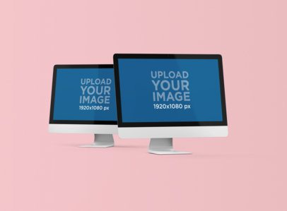 Render Mockup Featuring Two iMacs Placed Against a Plain Color Background 1283-el