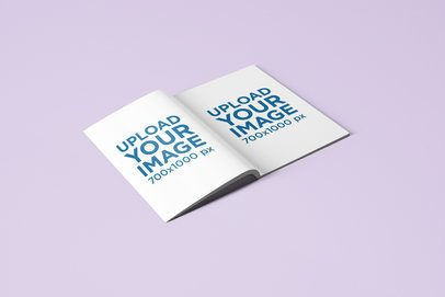 Wide-Open Magazine Mockup Placed on a Flat Surface 1505-el
