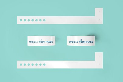 Mockup of Four Vinyl Wristbands Placed on a Flat Surface 1393-el