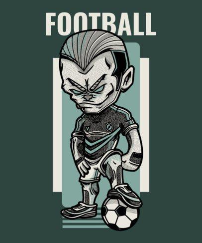 T-Shirt Design Maker Featuring a Cartoon Character with a Soccer Ball 97c-el