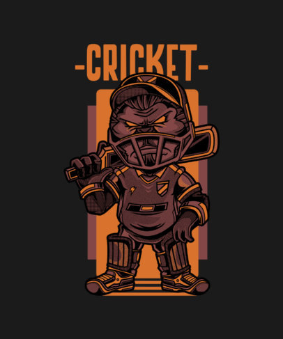 Street Art-Style T-Shirt Design Template with an Angry Cricket Player 97f-el