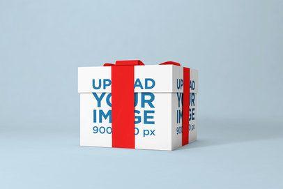 Mockup of a Gift Box with a Ribbon 1497-el